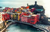 Aerial View Of Vernazza - Small Italian Town In Famous Cinque Terre On Mediterranean Sea In Liguria,