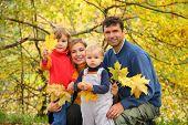 Постер, плакат: Семья из четырех человек в Осенний парк