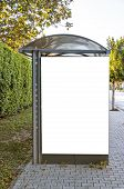 picture of bus-shelter  - A bus shelter with blank billboard situated in the Turkish town of Side - JPG