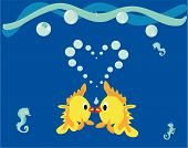 Kissing Fish Illustration