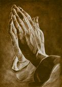two hands in pray pose. pencil drawing.