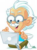 image of albert einstein  - Vector Illustration of a Professor Mascot Typing on a Computer - JPG
