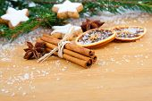 Cinnamon, Christmas Cookies With Festive Decoration