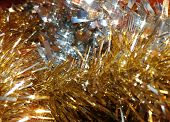 Sparkling Silver And Gold Tinsel Background