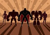 stock photo of robot  - Team of superheroes - JPG