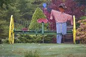 Fall Scarecrow Scene with Plow