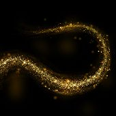Glittering gold dust tail. Twinkling glitter.