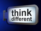 Education concept: Think Different on billboard background