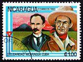 Postage Stamp Nicaragua 1983 Jose Marti And General Sandino