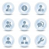 Users web icons, light blue glossy circle  buttons