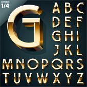 image of alphabet  - Vector illustration of golden 3D alphabet - JPG