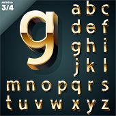 Vector illustration of golden 3D alphabet. Art Deco style. Set 3