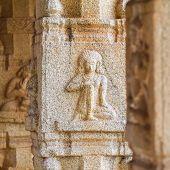 HAMPI, INDIA - FEBRUARY 2: Carved statues in the Hindu temple in Hampi, Karnataka on February 2, 201