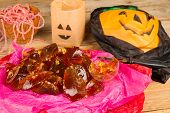 stock photo of irresistible  - Bonfire toffe a sweet and irresistible Halloween treat - JPG