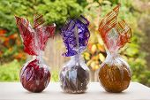 Caramel, Chocolate, Toffee Apples In The Autumn Garden.