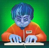 boy prints on the keyboard