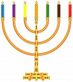 stock photo of menorah  - Golden Menorah - JPG