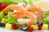 stock photo of shrimp  - dish of fresh cooked shrimps with salad - JPG