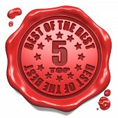 Top 5 in Charts - Stamp on Red Wax Seal.