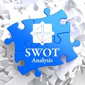 SWOT Analisis on Blue Puzzle Pieces.