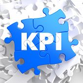 KPI on Blue Pieces. Business Concept.