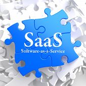 SAAS. Puzzle Information Technology Concept.