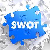 SWOT on Blue Puzzle. Business Concept.