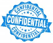 Confidential Blue Grunge Stamp