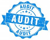 image of financial audit  - audit blue grunge stamp on white background - JPG