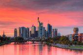 Dramatic Sunset Over The Skyline Of Frankfurt