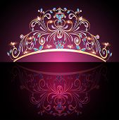 stock photo of queen crown  - illustration of the crown tiara womens gold with precious stones - JPG