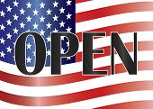 Government Shutdown Open Sign With Us Flag Illustration