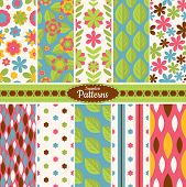 image of symmetry  - Collection of 10 floral colorful seamless pattern background - JPG