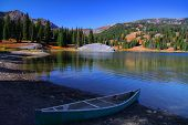 Scenic landscape of lake Irwin in Colorado