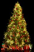 Black background with a shiny illuminated christmas tree isolated