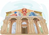 Illustration Featuring the Church of All Nations in Israel