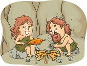 Illustration of a Caveman Couple Trying to Cook Their Food by Starting a Fire with Two Pieces of Sto