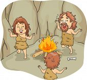 Illustration of a Caveman Family Dancing Around a Bonfire