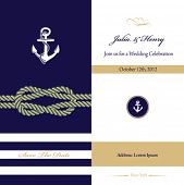 Wedding invitation card, nautical theme
