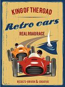 Retro car race sign. Vector illustration.