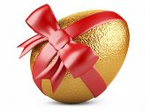 Golden Easter Egg With Red Ribbon