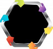 Hexagon shaped design element with colorful arrows