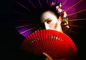 picture of geisha  - a portrait of a Geisha with fan and umbrella - JPG