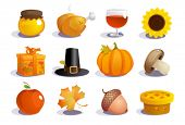 stock photo of acorn  - Thanksgiving day symbols collection - JPG