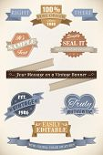 Retro Labels and Banners Vector Collection. Set of ten vintage style ribbons, banners and badges. Easily editable with global color swatches.