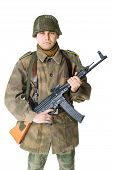Soldier With Submachine Gun Isolated