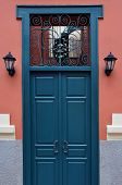 Blue Door With Antique Iron Pattern