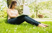 Happy young woman leaning against a tree while using her notebook in the sunshine