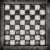 picture of draught-board  - Travelling draughts or checkers board game on playing field - JPG