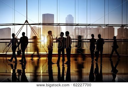 Group of Business People in Office Building poster